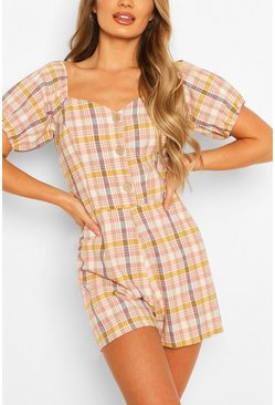 Blush Linen Look Checked Puff Sleeve Romper