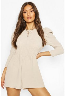 Sand Shirred Volume Sleeve Playsuit