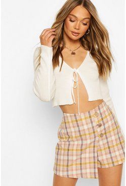 Blush Linen Look Button Front Checked Skort