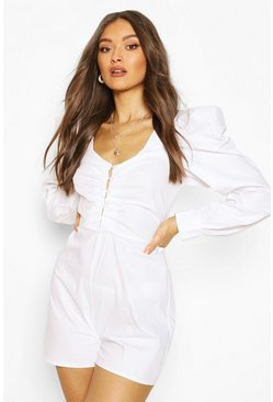 Ivory Cotton Poplin Button Front Playsuit