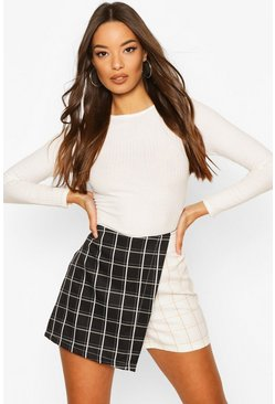 Black Spliced Check Skort
