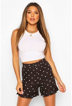 Black Polka Dot Ruffle Hem Tailored Shorts