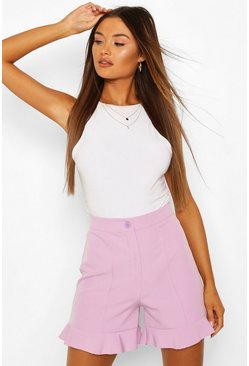 Lilac Ruffle Hem Tailored Shorts