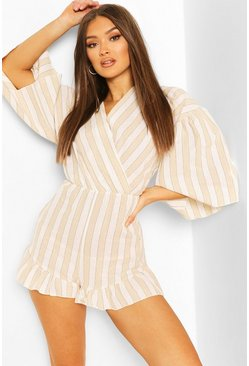 Stone Linen Stripe Wide Sleeve Wrap Romper