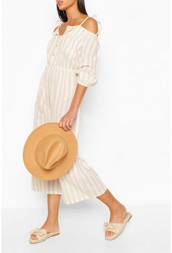 Stone Linen Stripe Button Off The Shoulder Jumpsuit