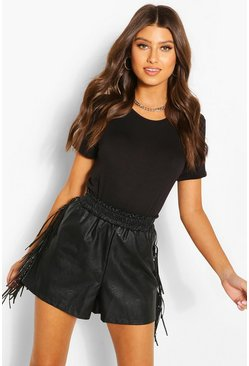 Black Leather Look Tassle Side Shorts