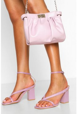 Lilac Wide Fit Toe Post Block Heel Sandals
