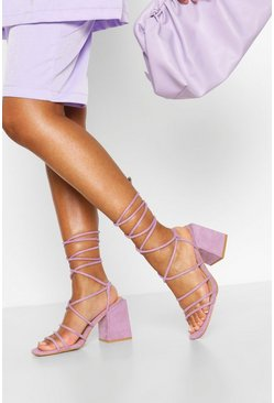 Lilac Wide Fit Strappy Block Heels