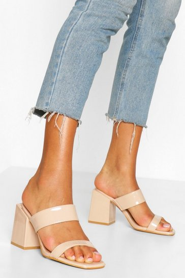 Nude Wide Fit Square Toe Mules