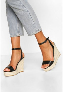 Black Wide Fit 2 Part Espadrille Wedges