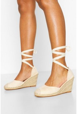 Beige Wide Fit Ankle Wrap Espadrille Wedges