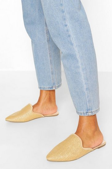 Natural Wide Fit Raffia Pointed Toe Mules