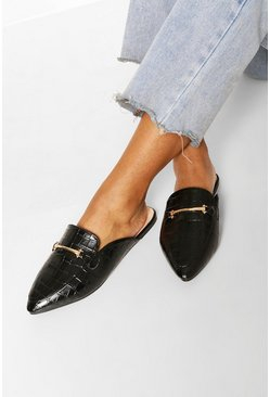 Black Wide Fit Croc Toe Mules