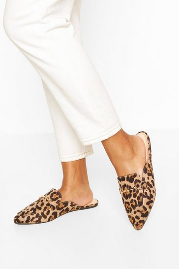 Wide Fit Leopard Pointed Toe Mules
