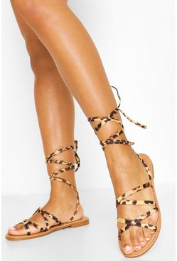 Wide Fit Wrap Strap Leopard Sandals