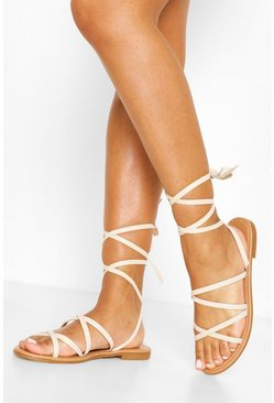 Nude Wide Fit Wrap Strap Sandals