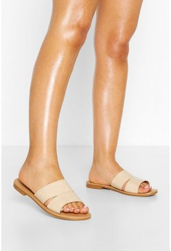 Tan Wide Fit Double Strap Sliders
