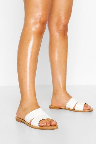 White Wide Fit Double Strap Sliders