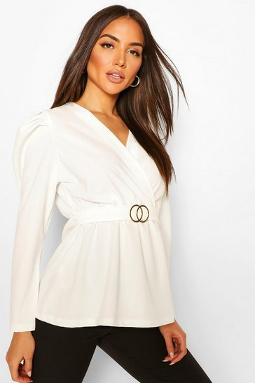 White Puff Sleeve Peplum Belted Top
