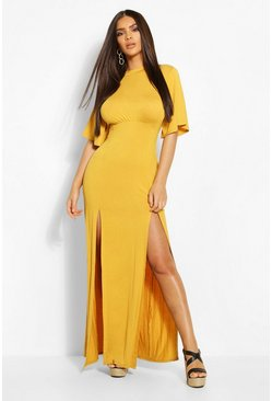 Mustard Jersey Curved Seam Midaxi Dress