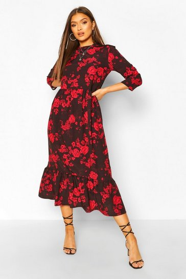 Black Woven Floral Drop Hem Midaxi Dress