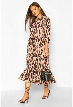 Natural Woven Leopard Drop Hem Midaxi Dress