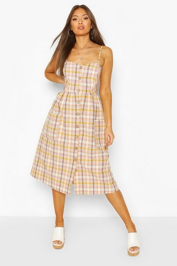 Blush Linen Look Button Front Checked Midi Dress