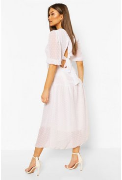 Ivory Dobby Spot Open Back Smock Midaxi Dress
