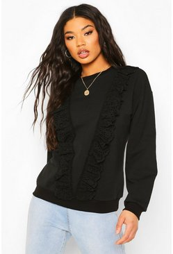 Black Broderie Trim Sweater