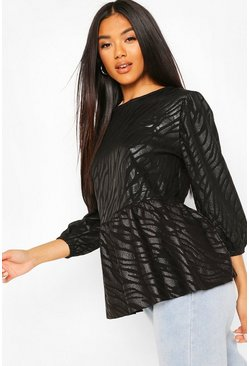 Black Animal Jaquard Puff Ball Sleeve Smock Top