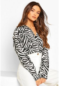 Black Zebra Oversized Satin Shirt