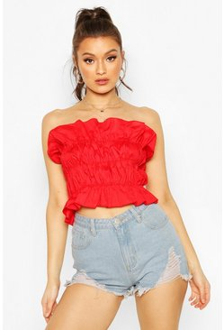 Red Ruched Cotton Bandeau Top