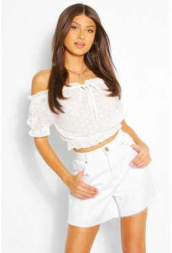 White Broderie Tie Front Detail Crop Top