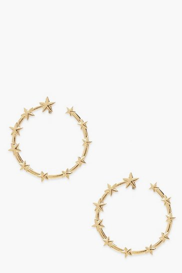 Gold Round Star Detail Oversized Stud Earrings