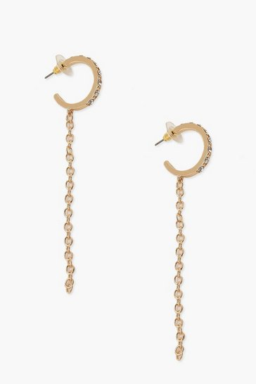 Gold Diamante & Chain Drop Earrings