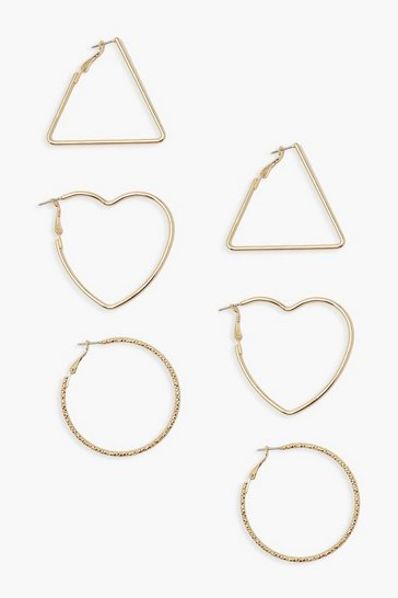 Gold Shaped Hoop Earring 3 Pack