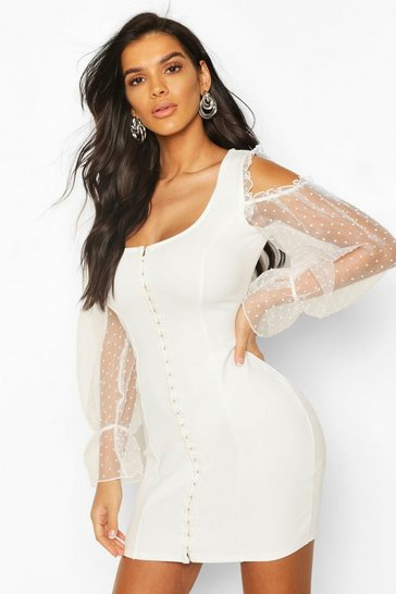 White Organza Spot Hook And Eye Bodycon Dress
