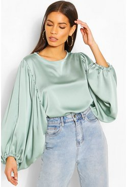 Sage Satin Extreme Balloon Sleeve Blouse