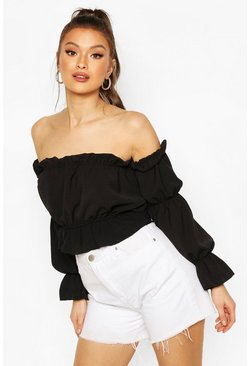 Black Satin Ruched Off The Shoulder Top