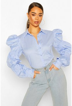 Dusty blue Puff Sleeve Shirt