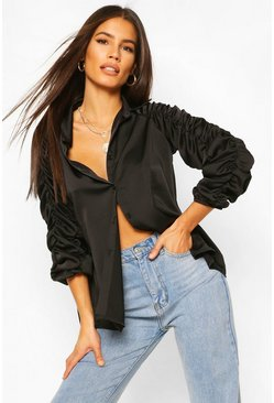 Black Satin Ruched Sleeve Shirt