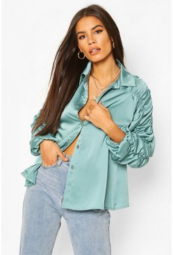 Teal Satin Ruched Sleeve Shirt