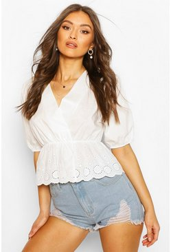 White Wrap Front Broderie Trim Top