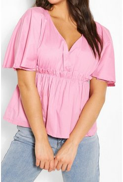 Pale pink Cotton Ruched Waist Batwing Sleeve Blouse