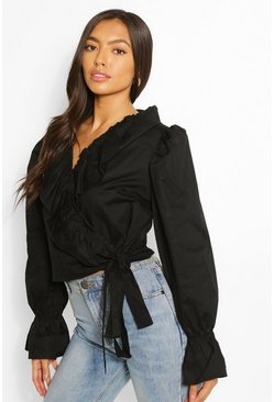 Black Frill Wrap Shirt