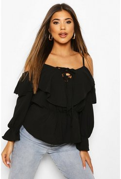 Black Cold Shoulder Linen Blouse