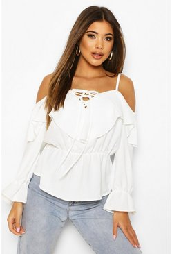 Ivory Cold Shoulder Linen Blouse