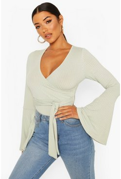 Mint Flare Sleeve Ribbed Wrap Bodysuit