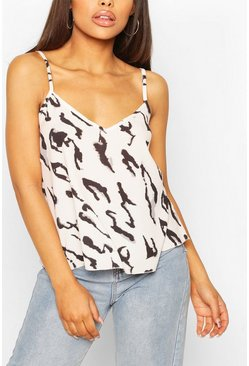 Cream Woven Animal Print Cami Top