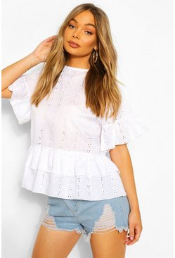 Ivory Broderie Ruffle Smock Top